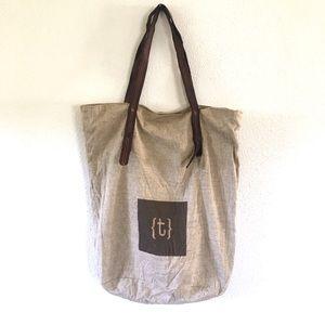 "Mark & Graham Linen Initial ""T"" Tote Bag"